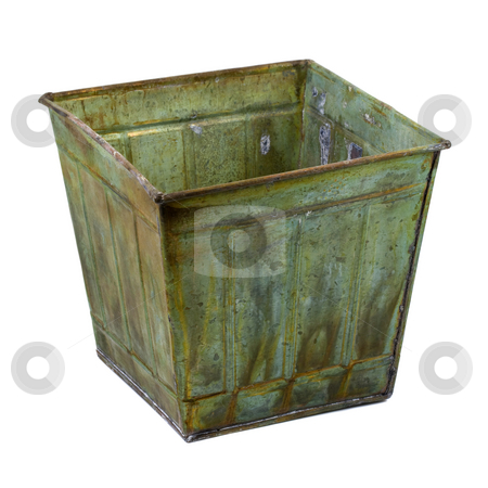 Metal container with a grunge finish stock photo, Metal container (planter) with a grunge patina finish isolated on white by Marek Uliasz