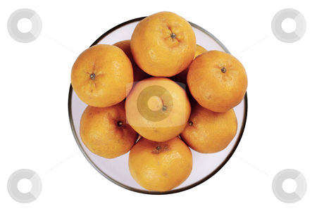Mandarin oranges stock photo, Mandarin oranges in a glass bowl isolated in a white background by Adrin Shamsudin