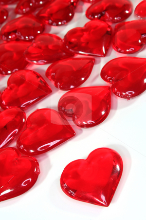 Valentine's Day stock photo, Red hearts on white background by Simone Voigt