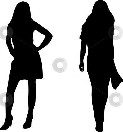 2 sexy Women silhouettes on white background. stock vector clipart, 2 sexy Women silhouettes on white background. Editable Vector Image by AUGUSTO CABRAL