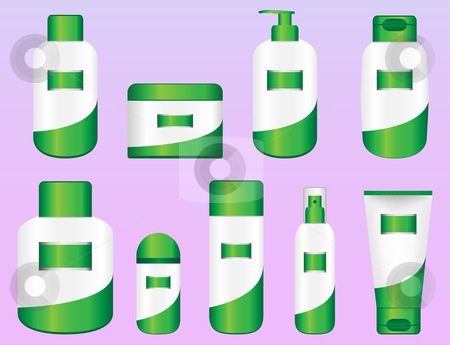 Set of 9 Bio Cosmetic Bottles stock vector clipart, Set of 9 Bio Cosmetic Bottles. Editable Vectors by AUGUSTO CABRAL