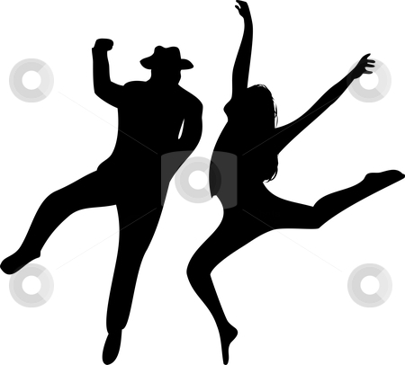 Couple of Dancers Silhouette on white background.  stock vector clipart, Couple of Dancers Silhouette on white background. Editable Vector Illustration by gubh83