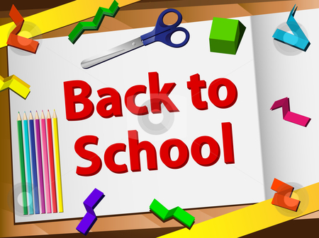 Back to School Desk with Scissors and Pencils stock vector clipart, Back to School Desk with Scissors and Pencils. Editable Vector Image by AUGUSTO CABRAL