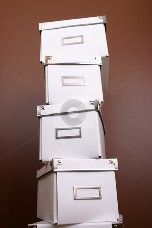 White boxes stock photo, White boxes used for storage on brown background by ??ystein Litleskare