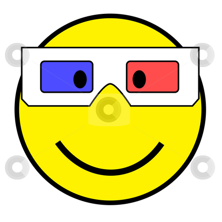Smiley with 3D glasses stock photo, Smiley wearing 3D glasses, isolated on white by Nikola Spasenoski