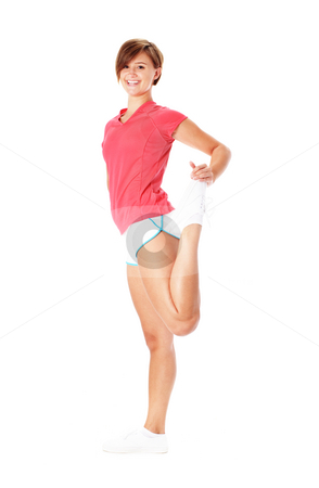Young Fitness Woman in Red Shirt Stretching, Isolated on White stock photo, Young woman in red shirt stretching, isolated on white, from a complete series of photos. by Christopher Nuzzaco