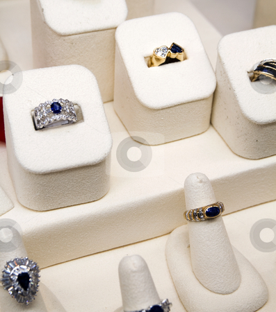 Rings stock photo, Rings on sale at a jewlelry store by Bill Swiger
