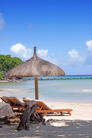 Tropical beach stock photo, Tropical baech of mauritius. by Gowtum Bachoo