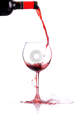 Wine pouring stock photo, Red whine pouring in a glass, isolated on white by Nikola Spasenoski