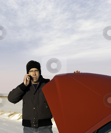 Stranded In Winter stock photo, A young man is checking under the car hood while talking on a cell phone. Copyspace available. by Richard Nelson