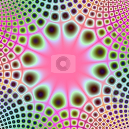 Spotted Starburst stock photo, Computer generated fractal image with a central sunburst design and radiating pattern in pink and green. by Colin Forrest