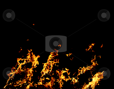 Flames stock photo, Flames and fire burning on black background by Nikola Spasenoski