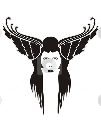 Free spirit stock vector clipart, Face of a woman framed by wings on a white background by xiphor