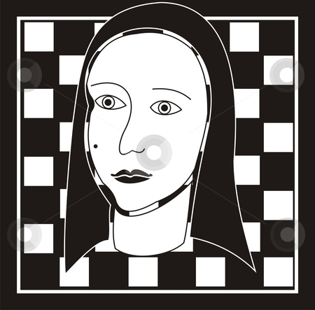 Woman face on a black and white chess board. Add to lightbox
