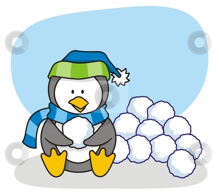 Little penguin 3 stock vector clipart, Vector cartoon of little penguin with snow by fractal.gr