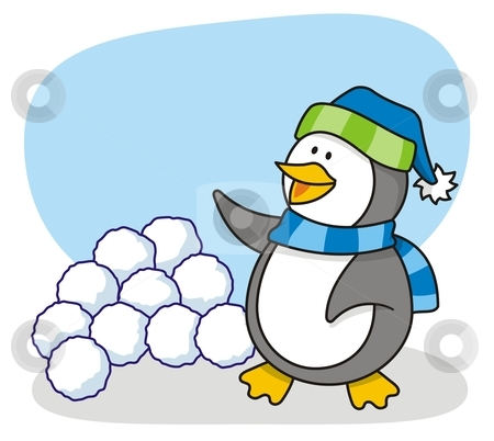 Little penguin 4 stock vector clipart, Vector cartoon of little penguin with snow waving by fractal.gr