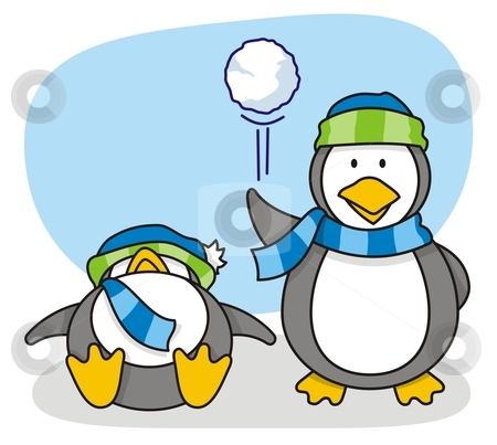 Little penguin 5 stock vector clipart, Vector cartoon of two little penguins with snow by fractal.gr