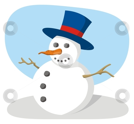 Snowman stock vector clipart, Snowman with hat by fractal.gr