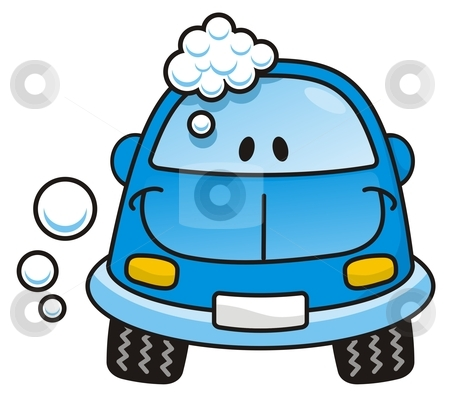 Picture Wash on Car Wash Blue Stock Vector Clipart  Happy Blue Cartoon Car Washing