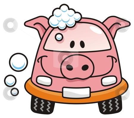 cartoon car wash clip art. A pig cartoon car washing with