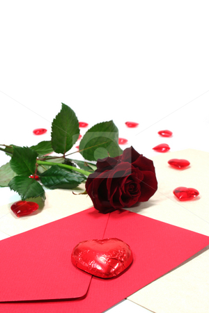 Letter with envelope, red roses and red hearts stock photo, Letter with envelope, red roses and red hearts on white background by Marén Wischnewski