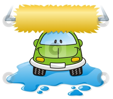 Car wash green stock vector clipart, Cartoon car washing with roller brush and water splash by fractal.gr