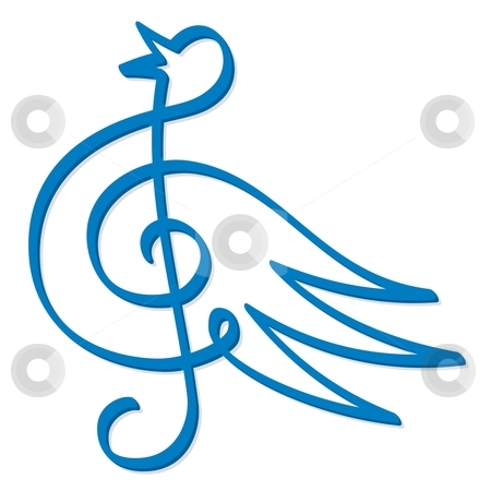 Blue bird music stock vector clipart, Line art of treble clef symbol form a blue bird by fractal.gr