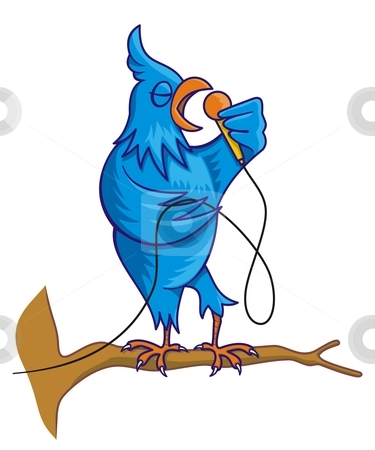 Blue bird singing stock vector clipart, Blue bird cartoon on tree branch with microphone singing by fractal.gr