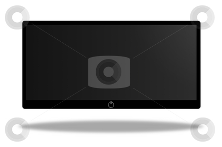 Screen stock photo, Black and white wide screen on white background by Henrik Lehnerer