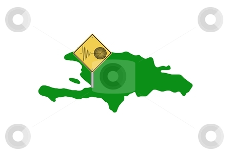 Haiti Tremor stock photo, Map of Haiti island with a tremor warning sign by Henrik Lehnerer