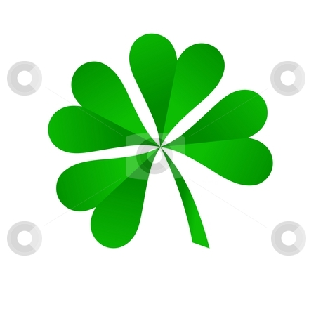 Clover stock photo, Green four leaf clover on white background by Henrik Lehnerer