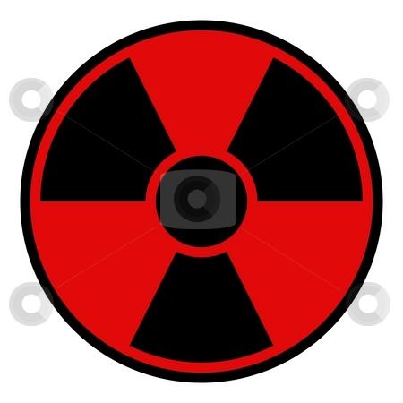 Radiation Warning Sign stock photo, Round radiation warning sign on white background by Henrik Lehnerer