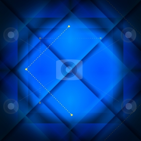 Blue Background Square stock photo, Background with blue large squares and smal yellow by Henrik Lehnerer