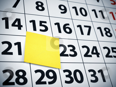 Blank sticky note on a calendar stock photo, Close up of a blank sticky note on a calendar. by Ignacio Gonzalez Prado