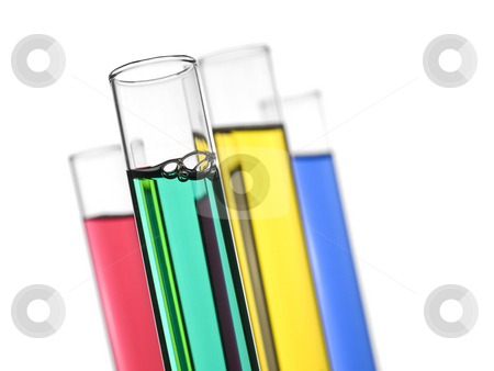 Test tubes stock photo, Four test tubes filled with colored liquids. Isolated on white. by Ignacio Gonzalez Prado