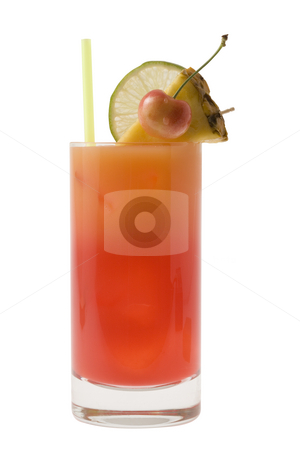 Mai Tai Cocktail stock photo, Mai Tai mixed drink with fruit garnish on white background by Gabe Palmer