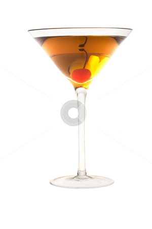 Rob Roy or Manahattan cocktail stock photo, Rob Roy or Manahattan mixed drink with marachino cherry close up on white background by Gabe Palmer