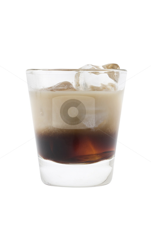 White Russian cocktail stock photo, White Russian mixed drink on white background by Gabe Palmer