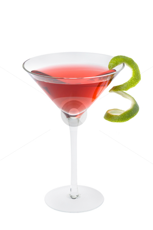 Cosmopolitan cocktail stock photo, Cosmopolitan mixed drink with lime twist on a white background by Gabe Palmer
