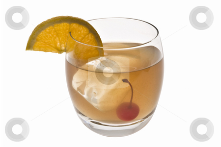 Whiskey Sour cocktail on a white background stock photo, Whiskey Sour mixed drink with cherry and orange slice on white background by Gabe Palmer