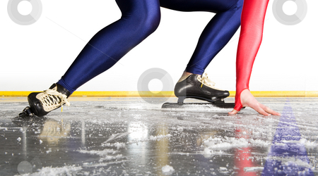 Starting line stock photo, Speed skater at the starting line on an indoor ice rink by Corepics VOF