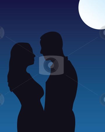 Moonlight kiss stock vector clipart, Silhouette of couple kissing under moonlight by Nikola Stulic