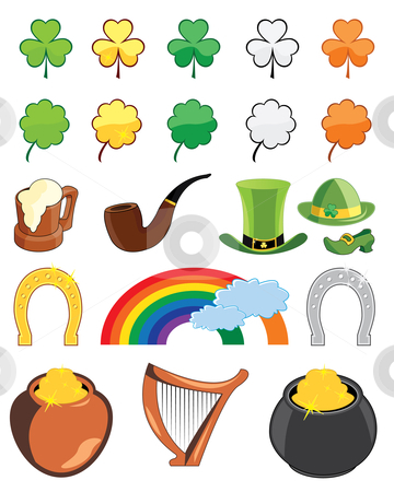 St. Patricks day icon set stock vector clipart, Collection of St. Patricks day icons - vector illustrations by Nikola Stulic