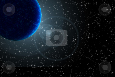 Planet stock photo, Blue planet with flare over starry black sky by Superdumb