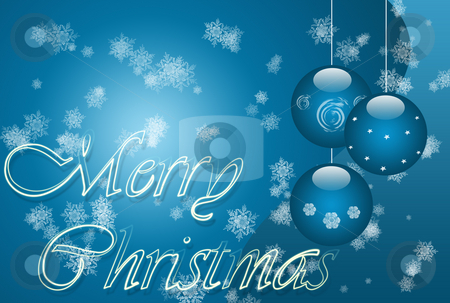 Blue Christmas stock photo, Christmas illustration with balls writings and snowflakes by Superdumb 