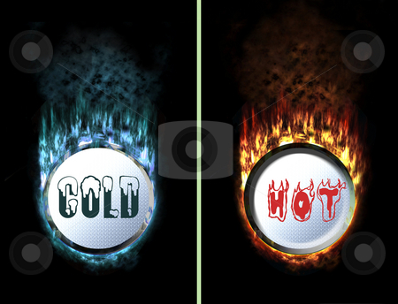 Hot Cold Fire Ice buttons stock photo, Isolated checked flaming button