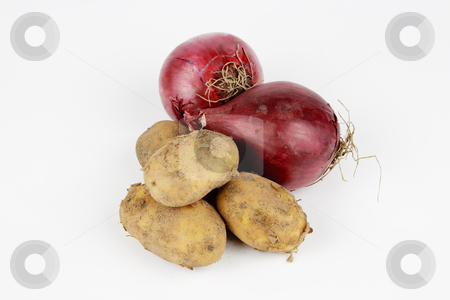 Potatoes and Red Onions stock photo, Two raw unpeeled red onions on a reflective white backgrounds by Keith Wilson