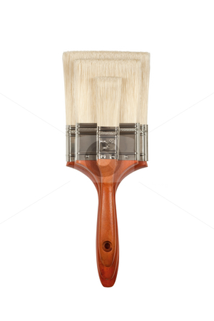 New Paint Brushes on White stock photo, Three Different Sized Paint Brushes Isolated on White with Clipping Path. by Andy Dean