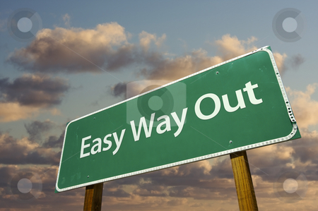 Easy Way Out Green Road Sign stock photo, Easy Way Out Green Road Sign with dramatic clouds and sky. by Andy Dean