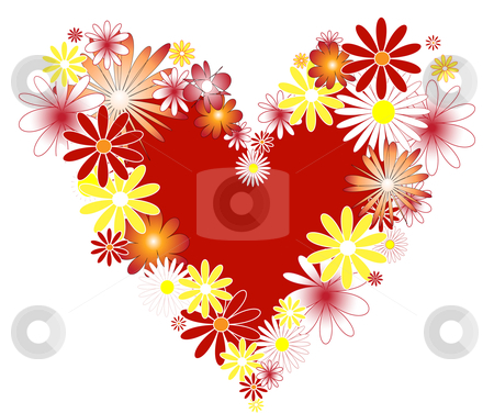Heart  with flowers. stock vector clipart, Heart with flowers. Vector illustration. Suits well for wallpapers and  Valentine cards. by Roza Khakimova